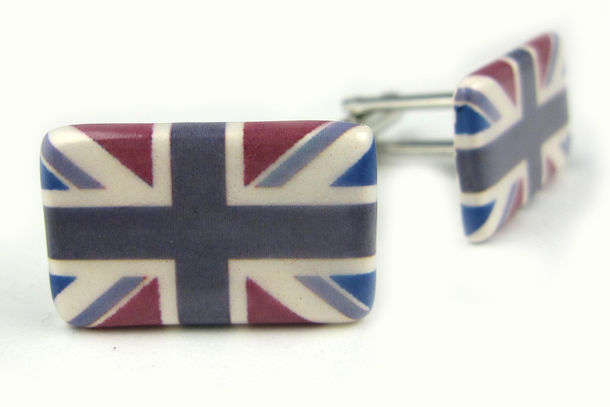 Union Jack Cufflinks (claret and blue\grey colour)